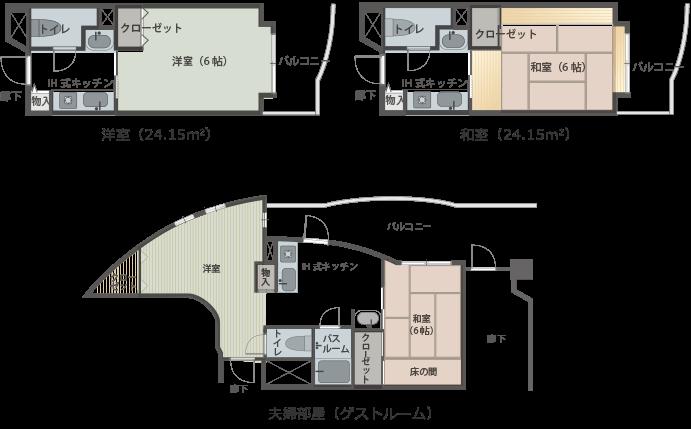 洋室タイプ、和室タイプ、夫婦部屋(ゲストルーム)